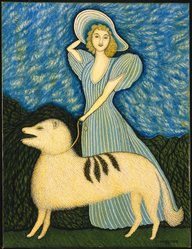 Morris Hirshfield (American, 1872-1946). <em>Girl with Dog</em>, 1940. Oil on canvas, 34 x 26 1/4 in. (86.4 x 66.7 cm). Brooklyn Museum, Bequest of Margaret S. Lewisohn, 54.157. © artist or artist's estate (Photo: Brooklyn Museum, 54.157_SL1.jpg)