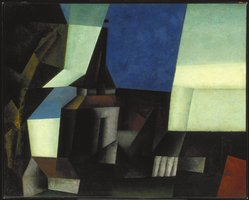 Lyonel Feininger (American, 1871-1956). <em>Zirchow V</em>, 1916. Oil on canvas, 31 7/8 x 39 5/8 in. (81 x 100.6 cm). Brooklyn Museum, Gift of Mr. and Mrs. Otto Spaeth, by exchange and John B. Woodward Memorial Fund, 54.62. © artist or artist's estate (Photo: Brooklyn Museum, 54.62_SL1.jpg)