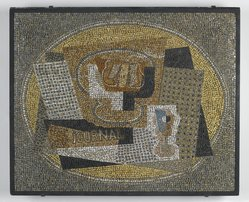 Gino Severini (Italian, 1883-1966). <em>Still Life with Compotier</em>, ca. 1949. Glazed earthenware, cement, original integral black painted wood frame, 32 3/4 x 27in. (83.2 x 68.6cm). Brooklyn Museum, Gift of the Italian Government, 54.65.1. © artist or artist's estate (Photo: Brooklyn Museum, 54.65.1_PS2.jpg)