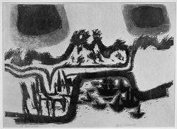 Carol Summers (American, born 1925). <em>Dark Clouds</em>, 1954. Woodcut on paper, 17 3/8 x 24 1/4 in. (44.1 x 61.6 cm). Brooklyn Museum, Dick S. Ramsay Fund, 54.85. © artist or artist's estate (Photo: Brooklyn Museum, 54.85_acetate_bw.jpg)