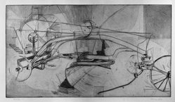 Nancy Fisk (American). <em>Machine, No. I</em>, 1954. Engraving and etching on wove paper, Plate: 13 3/8 x 23 13/16 in. (34 x 60.5 cm). Brooklyn Museum, Dick S. Ramsay Fund, 54.92. © artist or artist's estate (Photo: Brooklyn Museum, 54.92_acetate_bw.jpg)