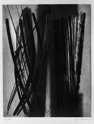 Hans Hartung (French, born Germany, 1904-1989). <em>Abstract Composition</em>, 20th century. Etching in color on wove paper, 8 3/4 x 25 9/16 in. (22.3 x 65 cm). Brooklyn Museum, Frank L. Babbott Fund, 55.115.1. © artist or artist's estate (Photo: Brooklyn Museum, 55.115.1_acetate_bw.jpg)