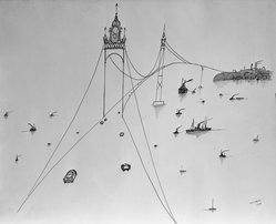 Saul Steinberg (American, born Romania,1914-1999). <em>Bridge Perspective</em>, 1954. Pen and ink on paper Brooklyn Museum, Dick S. Ramsay Fund, 55.135. © artist or artist's estate (Photo: Brooklyn Museum, 55.135_acetate_bw.jpg)