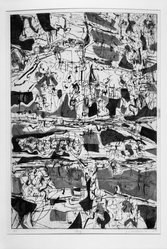 Ezio Martinelli (American, 1913-1981). <em>Bog</em>, 1952. Etching and stencil on paper, image: 17 3/4 x 11 7/8 in. (45.1 x 30.2 cm). Brooklyn Museum, Dick S. Ramsay Fund, 55.136.2. © artist or artist's estate (Photo: Brooklyn Museum, 55.136.2_bw.jpg)
