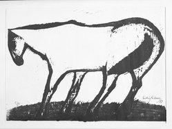 Ludvig Eikaas (Norwegian, 1920-2010). <em>Horse in Wind</em>, 1953. Woodcut on laid paper, 15 9/16 x 23 7/8 in. (39.6 x 60.6 cm). Brooklyn Museum, Frank L. Babbott Fund, 55.137.1. © artist or artist's estate (Photo: Brooklyn Museum, 55.137.1_bw.jpg)