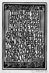 Erich Heckel (German, 1883-1970). <em>Table of Contents of the Erich Heckel Portfolio Published by J.B. Neumann, Berlin (Inhaltverzeichnis der Erich Heckel-Mappe des Verlages J.B. Neumann, Berlin)</em>, 1921. Woodcut on wove paper, Image: 12 5/8 x 8 1/2 in. (32.1 x 21.6 cm). Brooklyn Museum, Gift of Dr. F.H. Hirschland, 55.165.103. © artist or artist's estate (Photo: Brooklyn Museum, 55.165.103_bw_IMLS.jpg)