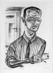 Conrad Felixmüller (German, 1897-1977). <em>Selbstbild (Self Portrait)</em>, 1921. Lithograph on laid paper, Image: 17 x 12 in. (43.2 x 30.5 cm). Brooklyn Museum, Gift of Dr. F.H. Hirschland, 55.165.108. © artist or artist's estate (Photo: Brooklyn Museum, 55.165.108_bw_IMLS.jpg)