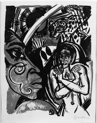 Richard Janthur (German, 1883-1950). <em>Exotic Life (Exotischleben)</em>, n.d. Color lithograph in brown, red, blue, and black on laid paper, Image: 15 3/4 x 12 7/16 in. (40 x 31.6 cm). Brooklyn Museum, Gift of Dr. F.H. Hirschland, 55.165.113. © artist or artist's estate (Photo: Brooklyn Museum, 55.165.113_bw_IMLS.jpg)