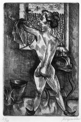 Conrad Felixmüller (German, 1897-1977). <em>Woman at Morning Ablutions</em>. Etching on laid paper, 11 5/8 x 7 7/8 in. (29.5 x 20 cm). Brooklyn Museum, Gift of Dr. F.H. Hirschland, 55.165.13. © artist or artist's estate (Photo: Brooklyn Museum, 55.165.13_bw_IMLS.jpg)