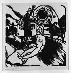 Heinrich Campendonk (German, 1889-1957). <em>Seated Female Nude in Landscape with Farmhouse (Sitzender weiblicher Akt in Landschaft mit Bauernhaus)</em>, 1920-1921. Woodcut on laid paper, Image: 8 5/8 x 8 9/16 in. (21.9 x 21.7 cm). Brooklyn Museum, Gift of Dr. F.H. Hirschland, 55.165.15. © artist or artist's estate (Photo: Brooklyn Museum, 55.165.15_bw_IMLS.jpg)
