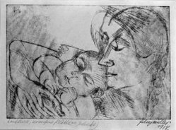 Conrad Felixmüller (German, 1897-1977). <em>Mother and Child</em>, 1918. Soft ground etching on wove paper, 7 x 10 in. (17.8 x 25.4 cm). Brooklyn Museum, Gift of Dr. F.H. Hirschland, 55.165.24. © artist or artist's estate (Photo: Brooklyn Museum, 55.165.24_bw_IMLS.jpg)