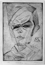 Conrad Felixmüller (German, 1897-1977). <em>Self Portrait</em>, 1915. Drypoint in sepia ink, 11 7/8 x 9 1/8 in. (30.2 x 23.2 cm). Brooklyn Museum, Gift of Dr. F.H. Hirschland, 55.165.2. © artist or artist's estate (Photo: Brooklyn Museum, 55.165.2_acetate_bw.jpg)