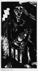 Heinrich Campendonk (German, 1889-1957). <em>Man with Cat in His Lap (Mann mit Katze auf dem Schoss)</em>, 1919. Woodcut on laid paper, Sheet: 18 9/16 x 13 5/8 in. (47.1 x 34.6 cm). Brooklyn Museum, Gift of Dr. F.H. Hirschland, 55.165.48. © artist or artist's estate (Photo: Brooklyn Museum, 55.165.48_bw_IMLS.jpg)