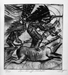 Otto Dix (German, 1891-1969). <em>American Riders (Amerikanische Reitakt)</em>, 1925. Etching and drypoint on wove paper, Image (Plate): 13 5/8 x 12 1/8 in. (34.6 x 30.8 cm). Brooklyn Museum, Gift of Dr. F.H. Hirschland, 55.165.65. © artist or artist's estate (Photo: Brooklyn Museum, 55.165.65_bw_IMLS.jpg)