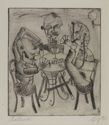 Otto Dix (German, 1891-1969). <em>Card Players (Kartenspieler)</em>, 1920. Drypoint on wove paper, image (Plate): 12 7/8 × 11 1/8 in. (32.7 × 28.3 cm). Brooklyn Museum, Gift of Dr. F.H. Hirschland, 55.165.66. © artist or artist's estate (Photo: , 55.165.66_PS9.jpg)