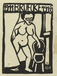 "Erich Heckel (German, 1883-1970). <em>Title Page Woodcut for the Annual Report 1911-1912 of the Artists' Group ""Brücke"" (Titelholzschnitt zum Jahresbericht 1911-1912 der Künstlergruppe ""Brücke"")</em>, 1911-1912. Woodcut in black ink on wove paper, Image: 3 7/8 x 2 7/8 in. (9.8 x 7.3 cm). Brooklyn Museum, Gift of Dr. F.H. Hirschland, 55.165.6. © artist or artist's estate (Photo: Brooklyn Museum, 55.165.6_PS2.jpg)"