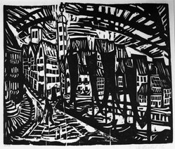 Erich Heckel (German, 1883-1970). <em>Stralsund</em>, 1912. Woodcut on heavy wove paper, Image: 11 13/16 x 14 3/8 in. (30 x 36.5 cm). Brooklyn Museum, Gift of Dr. F.H. Hirschland, 55.165.71. © artist or artist's estate (Photo: Brooklyn Museum, 55.165.71_bw_IMLS.jpg)