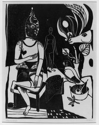 Heinrich Campendonk (German, 1889-1957). <em>Seated Harlequin (Sitzender Harlekin)</em>, 1922. Woodcut on wove paper, Image: 14 7/8 x 11 1/2 in. (37.8 x 29.2 cm). Brooklyn Museum, Gift of Dr. F.H. Hirschland, 55.165.73. © artist or artist's estate (Photo: Brooklyn Museum, 55.165.73_acetate_bw.jpg)