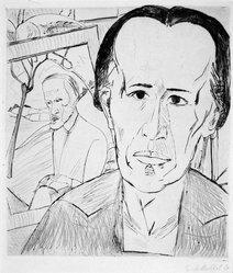 Erich Heckel (German, 1883-1970). <em>Portrait of E.G. (Bildnis E.G.)</em>, 1920. Drypoint on wove paper, Image (Plate): 12 7/8 x 10 5/8 in. (32.7 x 27 cm). Brooklyn Museum, Gift of Dr. F.H. Hirschland, 55.165.93. © artist or artist's estate (Photo: Brooklyn Museum, 55.165.93_bw_IMLS.jpg)