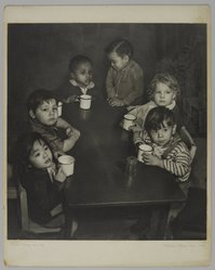 Mildred E. Hatry (American, 1893-1973). <em>Children in the U.N. Nursery</em>. Photograph, 20 x 16 in. (50.8 x 40.6 cm). Brooklyn Museum, Gift of Mrs. Harry Hatry, 55.187.4. © artist or artist's estate (Photo: , 55.187.4_PS4.jpg)