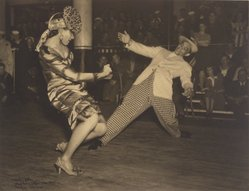 Mildred E. Hatry (American, 1893-1973). <em>Stage Door Canteen; Dunham Dancers</em>, November 1943. Carbon bromide photograph, Sheet and image: 10 9/16 × 13 1/16 in. (26.8 × 33.2 cm). Brooklyn Museum, Gift of Mrs. Harry Hatry, 55.187.7. © artist or artist's estate (Photo: Brooklyn Museum, 55.187.7.jpg)
