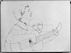 Henry Koerner (American, 1915-1991). <em>Guitarists</em>, n.d. Pen and ink on paper, sheet (drawing): 14 5/8 x 19 11/16 in. (37.1 x 50 cm). Brooklyn Museum, Dick S. Ramsay Fund, 55.46. © artist or artist's estate (Photo: Brooklyn Museum, 55.46_acetate_bw.jpg)