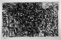 Vincent Longo (American, born 1923). <em>Odyssey</em>, 1955. Woodcut on paper, image: 18 3/4 x 30 1/2 in. (47.6 x 77.5 cm). Brooklyn Museum, Dick S. Ramsay Fund, 55.49. © artist or artist's estate (Photo: Brooklyn Museum, 55.49_acetate_bw.jpg)