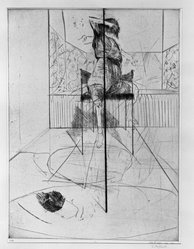 James McGarrell (American, born 1930). <em>Game</em>, 1954. Drypoint on paper, image: 23 11/16 x 17 5/8 in. (60.2 x 44.8 cm). Brooklyn Museum, Dick S. Ramsay Fund, 55.51. © artist or artist's estate (Photo: Brooklyn Museum, 55.51_acetate_bw.jpg)