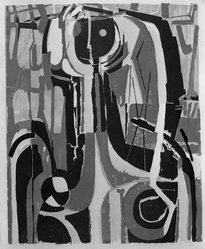Richard Zoellner (American, 1908-2003). <em>Face in the Mirror</em>, 1954. Woodcut in color on Japan paper, Image: 24 1/2 x 20 1/16 in. (62.3 x 50.9 cm). Brooklyn Museum, Dick S. Ramsay Fund, 55.53. © artist or artist's estate (Photo: Brooklyn Museum, 55.53_acetate_bw.jpg)