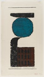 Carol Summers (American, born 1925). <em>The Little City</em>, 1954. Color woodcut on Japan paper, sheet: 20 x 11 1/8 in. (50.8 x 28.3 cm). Brooklyn Museum, Dick S. Ramsay Fund, 55.6.2. © artist or artist's estate (Photo: Brooklyn Museum, 55.6.2_PS4.jpg)