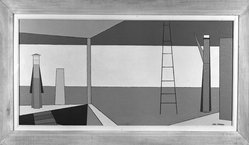 Attilio Salemme (American, 1911-1955). <em>Tomorrow</em>, 1947. Oil on canvas, Canvas: 18 1/8 x 36 in. (46 x 91.4 cm). Brooklyn Museum, Dick S. Ramsay Fund, 55.89. © artist or artist's estate (Photo: Brooklyn Museum, 55.89_acetate_bw.jpg)
