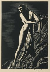 Rockwell Kent (American, 1882-1971). <em>Precipice</em>, 1927. Wood engraving (maple block) on white wove paper, Sheet: 11 3/8 x 8 13/16 in. (28.9 x 22.4 cm). Brooklyn Museum, Gift of Erhart Weyhe, 56.4.29. © artist or artist's estate (Photo: Brooklyn Museum, 56.4.29_PS6.jpg)