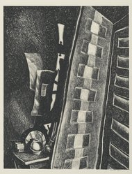 Wanda Gág (American, 1893-1946). <em>Two Doors</em>. Lithograph on white wove paper, 11 1/8 x 8 5/8 in. (28.3 x 21.9 cm). Brooklyn Museum, Gift of Erhart Weyhe, 56.4.31. © artist or artist's estate (Photo: Brooklyn Museum, 56.4.31_PS2.jpg)
