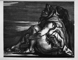 Rico Le Brun (American, 1900-1964). <em>Moonlit Earth</em>, 1945. Lithograph on paper, image: 17 5/16 x 13 7/8 in. (44 x 35.2 cm). Brooklyn Museum, 56.72. © artist or artist's estate (Photo: Brooklyn Museum, 56.72_acetate_bw.jpg)