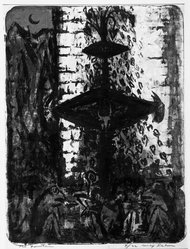 Max Kahn (American, 1904-2005). <em>The Fountain</em>, 1956. Lithograph, 25 9/16 x 19 5/16 in. (65 x 49 cm). Brooklyn Museum, Dick S. Ramsay Fund, 56.75. © artist or artist's estate (Photo: Brooklyn Museum, 56.75_bw.jpg)