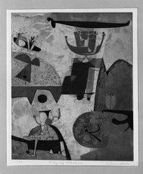 Leonard Edmondson (American, 1916-2002). <em>Flying Machine</em>, 1956. Etching, 9 3/8 x 7 7/8 in. (23.8 x 20 cm). Brooklyn Museum, Dick S. Ramsay Fund, 56.77. © artist or artist's estate (Photo: Brooklyn Museum, 56.77_acetate_bw.jpg)
