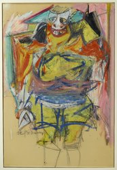 Willem de Kooning (American, born Holland, 1904-1997). <em>Woman</em>, 1953-1954. Oil on paper board, 35 3/4 × 24 3/8 in. (90.8 × 61.9 cm). Brooklyn Museum, Gift of Mr. and Mrs. Alastair B. Martin, the Guennol Collection, 57.124. © artist or artist's estate (Photo: Brooklyn Museum, 57.124_reference_PS2.jpg)