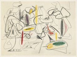 "Arshile Gorky (American, born Armenia, 1904-1948). <em>Study for ""They Will Take My Island,""</em> 1944. Crayon on white wove paper, sheet: 22 x 30 in. (55.9 x 76.2 cm). Brooklyn Museum, Dick S. Ramsay Fund, 57.16. © artist or artist's estate (Photo: Brooklyn Museum, 57.16_SL1.jpg)"