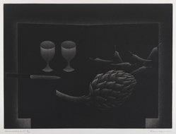 Hamaguchi Yozo (Japanese, 1909-2000). <em>L'Artichaut</em>. Mezzotint, 15 1/2 x 11 7/16 in. (39.3 x 29 cm). Brooklyn Museum, Charles Stewart Smith Memorial Fund, 57.186.1. © artist or artist's estate (Photo: Brooklyn Museum, 57.186.1_IMLS_PS4.jpg)