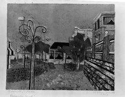Dietmar Lemcke (German, born 1930). <em>Resort</em>, 1957. Etching on paper, 19 5/16 x 15 7/16 in. (49.1 x 39.2 cm). Brooklyn Museum, Charles Stewart Smith Memorial Fund, 57.193.10. © artist or artist's estate (Photo: Brooklyn Museum, 57.193.10_acetate_bw.jpg)