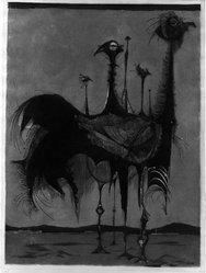 Carl Bianga (German). <em>Strutting Pair</em>, 1956. Intaglio on paper, 25 5/8 x 19 5/16 in. (65.1 x 49 cm). Brooklyn Museum, Charles Stewart Smith Memorial Fund, 57.193.11. © artist or artist's estate (Photo: Brooklyn Museum, 57.193.11_acetate_bw.jpg)