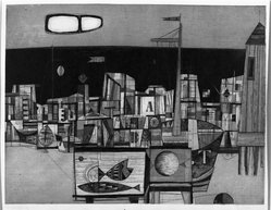 Rudolf Kugler (German, 1921-2013). <em>Fisheries Station</em>, 1957. Etching on wove paper, 25 3/8 x 19 3/8 in. (64.4 x 49.2 cm). Brooklyn Museum, Charles Stewart Smith Memorial Fund, 57.193.15. © artist or artist's estate (Photo: Brooklyn Museum, 57.193.15_acetate_bw.jpg)