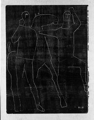 Marino Marini (Italian, 1901-1980). <em>Horse and Cavaliers</em>, ca. 1955. Incised drawing on wove paper, 15 1/8 x 11 1/2 in. Brooklyn Museum, Gift of Edward A. Bragaline, 57.216. © artist or artist's estate (Photo: Brooklyn Museum, 57.216_view1_acetate_bw.jpg)