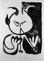 Pablo Picasso (Spanish, 1881-1973). <em>Faun Musician No. 5</em>, 1948. Lithograph on zinc printed on heavy wove paper, 27 3/16 x 19 11/16 in. (69 x 50 cm). Brooklyn Museum, Gift of Mr. and Mrs. Herbert M. Rothschild, 57.7.2. © artist or artist's estate (Photo: Brooklyn Museum, 57.7.2_bw.jpg)