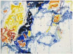 Sam Francis (American, 1923-1994). <em>Yellow, Violet and White Forms</em>, 1956. Watercolor on paper, 22 7/16 x 30 7/16 in. (57 x 77.3 cm). Brooklyn Museum, Dick S. Ramsay Fund, 57.70. © artist or artist's estate (Photo: Brooklyn Museum, 57.70_PS1.jpg)