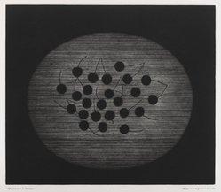Hamaguchi Yozo (Japanese, 1909-2000). <em>Still Life</em>, 1956. Mezzotint, 11 5/8 x 13 1/2 in. (29.5 x 34.3 cm). Brooklyn Museum, Charles Stewart Smith Memorial Fund, 57.88.1. © artist or artist's estate (Photo: Brooklyn Museum, 57.88.1_IMLS_PS4.jpg)