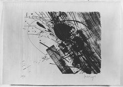 Kurt Rudolf Hoffmann Sonderborg (German, born Denmark, 1923). <em>Abstract Composition</em>, 1956. Lithograph on paper, 20 1/16 x 16 in. (51 x 40.6 cm). Brooklyn Museum, Henry L. Batterman Fund, 58.10.5. © artist or artist's estate (Photo: Brooklyn Museum, 58.10.5_acetate_bw.jpg)