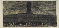 Antonio Frasconi (American, born Argentina, 1919-2013). <em>The Storm - Brooklyn Bridge</em>, 1952. Color woodcut on Japan paper, Image: 20 x 40 1/4 in. (50.8 x 102.2 cm). Brooklyn Museum, Dick S. Ramsay Fund, 58.11.1. © artist or artist's estate (Photo: Brooklyn Museum, 58.11.1_PS1.jpg)