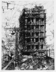 Renzo Vespignani (Italian, 1924-2001). <em>Casa Sulla Ferrouia</em>, 1957. Etching on wove paper, 15 13/16 x 12 3/16 in. (40.1 x 31 cm). Brooklyn Museum, Carll H. de Silver Fund, 58.165.19. © artist or artist's estate (Photo: Brooklyn Museum, 58.165.19_bw.jpg)