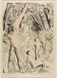 Erich Heckel (German, 1883-1970). <em>Figure Sketch (Figurenskizze)</em>, 1927. Color lithograph in black, green, and violet on laid paper, Image: 22 5/16 x 16 9/16 in. (56.7 x 42.1 cm). Brooklyn Museum, Henry L. Batterman Fund, 58.166.2. © artist or artist's estate (Photo: Brooklyn Museum, 58.166.2_PS9.jpg)